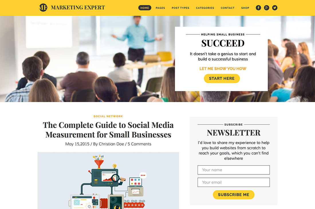Features of Digital Marketing WordPress theme